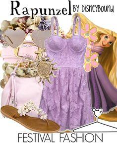 "Disney Princess Tangled ""Rapunzel""-inspired outfit; Festival Fashion. | Disney Bound."
