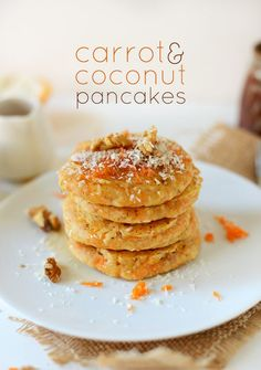 Carrot and Coconut Vegan Pancakes | minimalistbaker.com  I am making these w/ GF flour and stevia right now - YUM!!!  And coconut oil :).