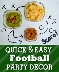 Quick and Easy Football Party Decor. A simple but cute way to serve food at your Super Bowl Party.