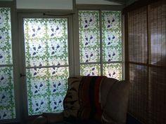 "Customer's new sun room.  ""Lovin every grape cluster"".  Grapevine Privacy design."