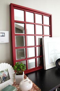 DIY Mirror Tutorial using Dollar Store Mirror Squares via @katiebower