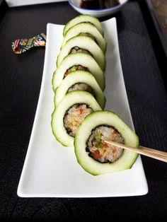 Nori rolls in cucumbers? Such a good idea!