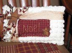 Primitive Christmas Pillow - Noel