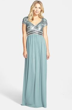 Adrianna Papell Embellished Cap Sleeve Chiffon Gown | Nordstrom  $227.98