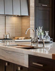 twist on the apron sink interior, quartzite countertops, stone kitchen countertops, design kitchen, kitchen design, kitchen island, design idea, apron, marbl
