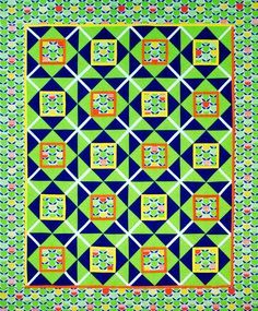 "Showcase a pretty focal fabric with this ""Modern Dutch"" pattern. Directions are provided for quilt sizes crib through king."