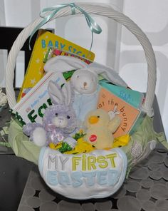Baby's first Easter basket idea...This is cute for Isaac, Minus the bib. :)