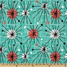 Michael Miller Mid-Century Modern Atomic Turquoise