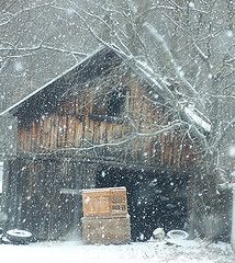 Barn in a snow storm
