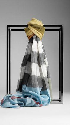 Check Colour Stripe Scarf   Burberry