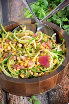 Roasted Corn  Zucchini Salad with Chili Lime Vinaigrette | The Housewife in Training Files #salad #corn #spiralized #glutenfree #healthy