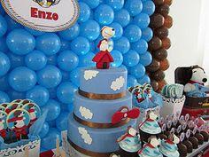 snoopi cake, festa infantil, cakes, parties, snoopi parti, snoopi birthday, snoopy, snoopi fli, blues