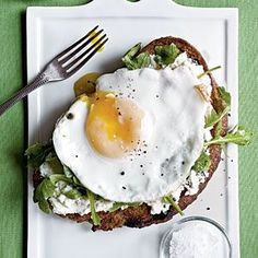 open-face ricotta, arugula & fried egg sandwiches / cooking light