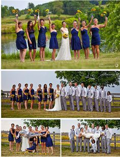 blue yellow wedding sunflowers - I want my bridal party to look exactly like this!