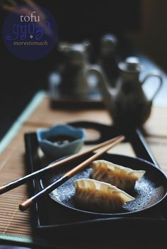 Homemade tofu gyoza - completely vegan and delicious.
