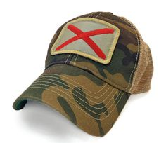 Alabama Flag Patch Trucker Hat Camo by StateLegacyRevival on Etsy