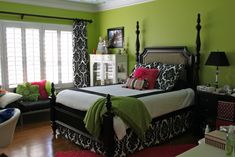 Teen girls room, 16 year old girl makeover.  Apple green walls, black, white and hot pink accents.  Still need to turn the headboard around...., teen girl remodel..still need to turn the headboard around...dont be afraid to try bold colors!, Bedrooms Design wall colors, teen girl rooms, green walls, color schemes, room idea, bold colors, bedroom designs, green rooms, teen girls