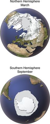 Cryosphere - winter seasons, Northern and Southern Hemispheres. Displaying the extent of snow and sea ice in the #Arctic and #Antarctica