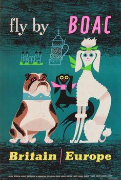 1950s british oversea, travel photos, travel tips, oversea airway, dog, airway corpor, travel posters, vintage ads, 1950s british