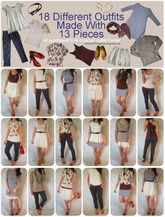 18 different spring outfits made from 13 pieces - All from Goodwill! Check out your local Goodwill stores to find these pieces and much more: http://www.goodwillvalleys.com/shop/