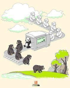 Low ink panda.  #panda