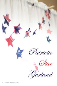 Red, white, and blue paper star garland. Cute, easy craft!