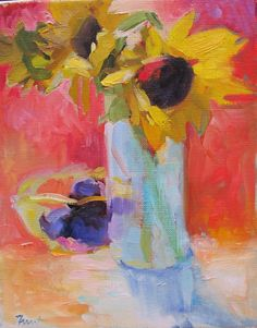 Sunflowers and Purple Plums