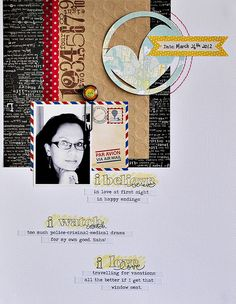By Sasha Farina. Elements on top, journaling under, prompted by stamps.