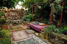 outdoor beds, outdoor rooms, dream, outer space, gardens, boho, place, backyards, outdoor lounge