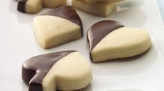 Party time!  Rich and buttery cookies are dipped for an extra treat.