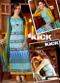 Get the perfect party look with this Gleaming #Kick #Movie Inspired #Jacquelinefernandez #Designer Straight Cut Salwar Suit featuring elegant print clubbed with embroidery work  View here:- http://youtu.be/EYRaWQpuMok
