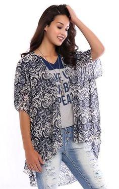 Deb Shops Short Sleeve Printed Chiffon Kimono $15.75