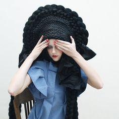 Braid Headdress. crazy hair, crazi hair, fashion, studio marisol, long hairstyles, braid, short hairstyles, black, long hair styles