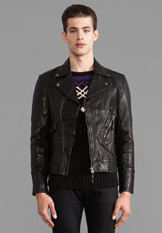 TOVAR Gil Leather Moto Jacket in Black
