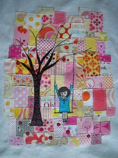 Beautiful!! this would be awesome to do with old t shirts and dress prints a little girl wrote as the squares in the background.