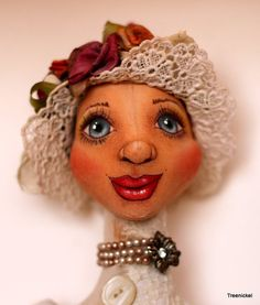 Fantasy Cloth Art Doll Grace Edwardian  Doll by Treenickel on Etsy, $200.00  (I like her face painting style)