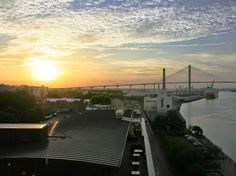 Sunset view from the Cotton Sail Hotel's Top Deck in Savannah, GA