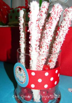 Peppermint covered pretzels at a Snowman Party #snowman #party