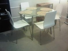 Glass Table with chairs for sale