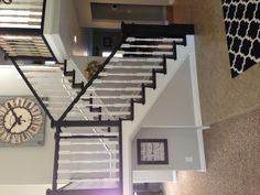 decor, stair, pewter paint, white trim, dark wood, paint colors, hous, bm rever, rever pewter