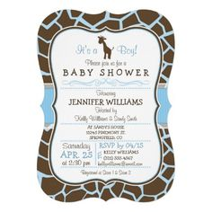 It's a Boy! Cute, elegant blue and brown giraffe baby shower invite on baby blue and blrown giraffe animal print pattern with vintage formal look.  Great for jungle, zoo animal theme baby showers. Retro bracket shape invitation.