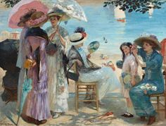 It's About Time: Beach - Waterside.Rupert Charles Wulsten Bunny (Australian artist, 1864–1947) A Lovely Afternoon 1908
