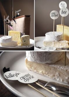 Yum! wine, name tags, flag, food, cheese trays, cheese platters, cheese boards, printabl, parti