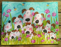 Dogs Dogs Dogs Original Painting Ready To Ship Large by YelliKelli, $75.00