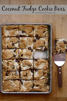 Coconut Fudge Cookie Bars from JensFavoriteCooki...  - Coconut lovers unite!  These gooey bars will disappear fast.