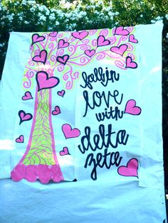 Fall in love with Phi Mu... You could add names of new members to make it a Bid Day banner.
