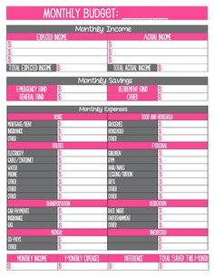 May need this in a few months>>> Free Budget Printables.