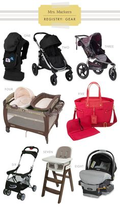 Registry Gear: Strollers, Carrier, Diaper Bag, High Chair, Car Seat