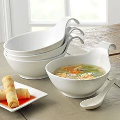 Porcelain Spoulet Bowls with Extended Loop Handles
