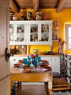 kitchen idea, hacienda, color, dream, rustic kitchens, hous, yellow walls, white cabinets, santa fe style